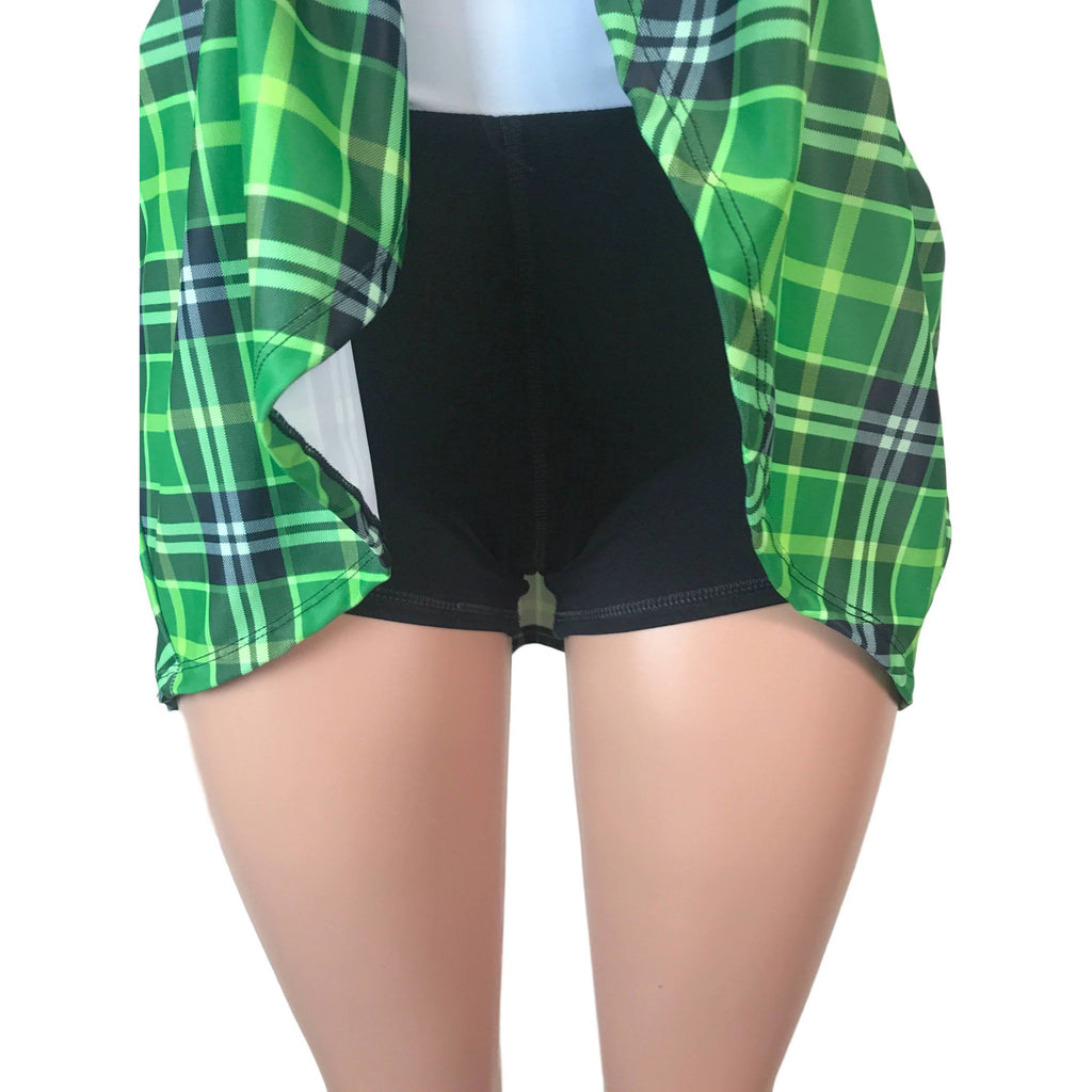 Green Plaid Athletic Skirt w/ built in compression shorts and pocket- tennis skirt, skater skirt, golf skirt, running skirt,St Patrick's Day