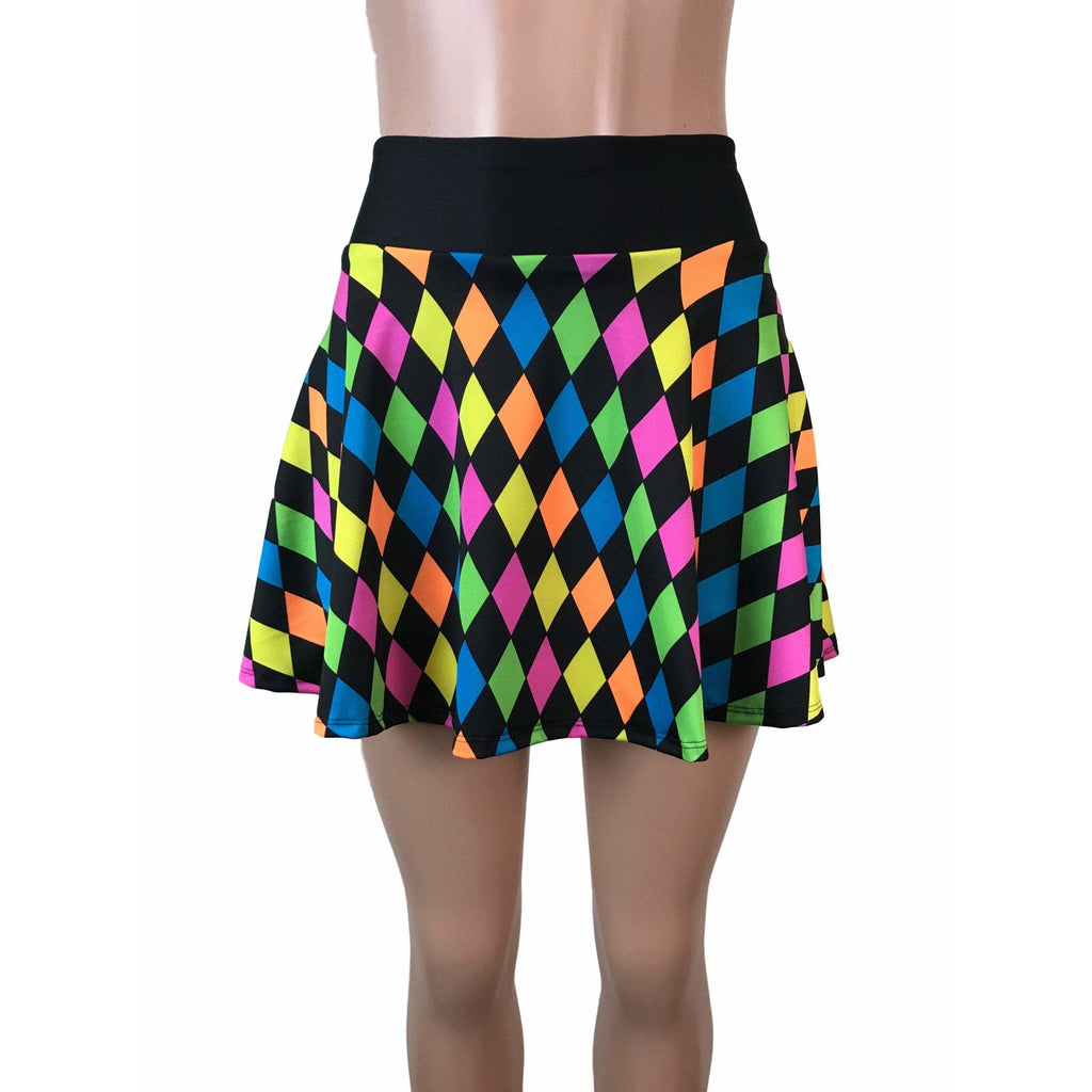 Neon Diamond Print Athletic Flare Skirt w/ compression shorts and pocket- tennis skirt, golf skirt, running skirt