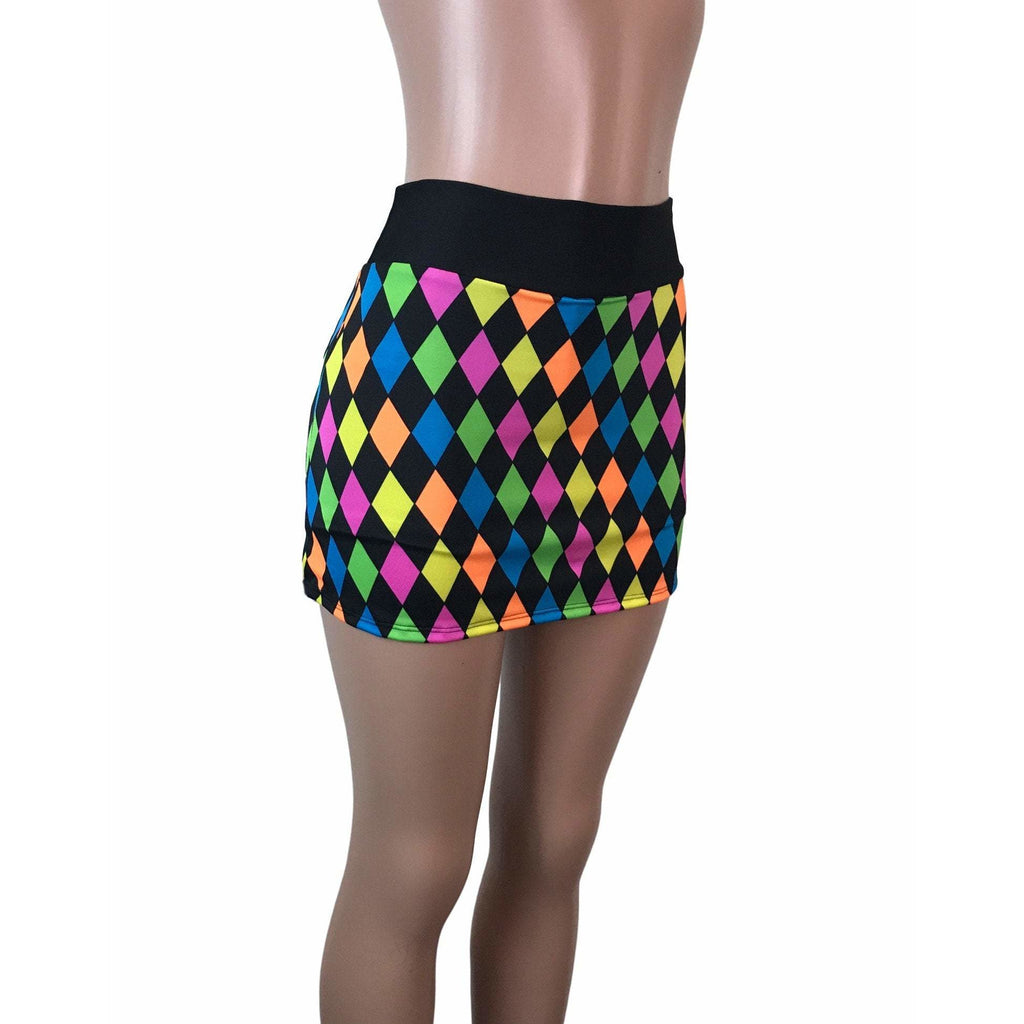 Neon Diamond Print Athletic Slim Skirt w/ built in compression shorts and pocket- tennis skirt, golf skirt, running skirt