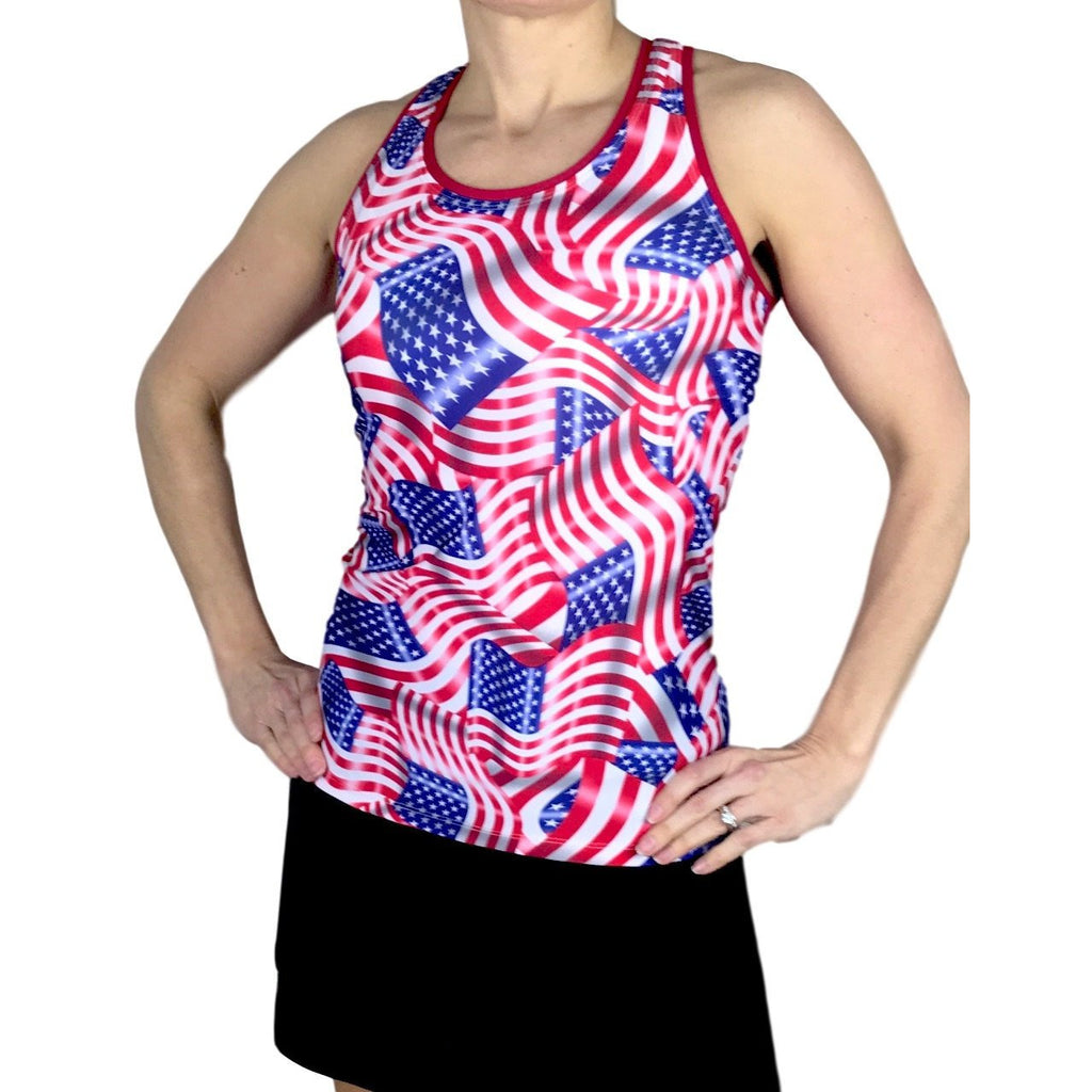 Women's American Flag Athletic Tank - Smash Dandy