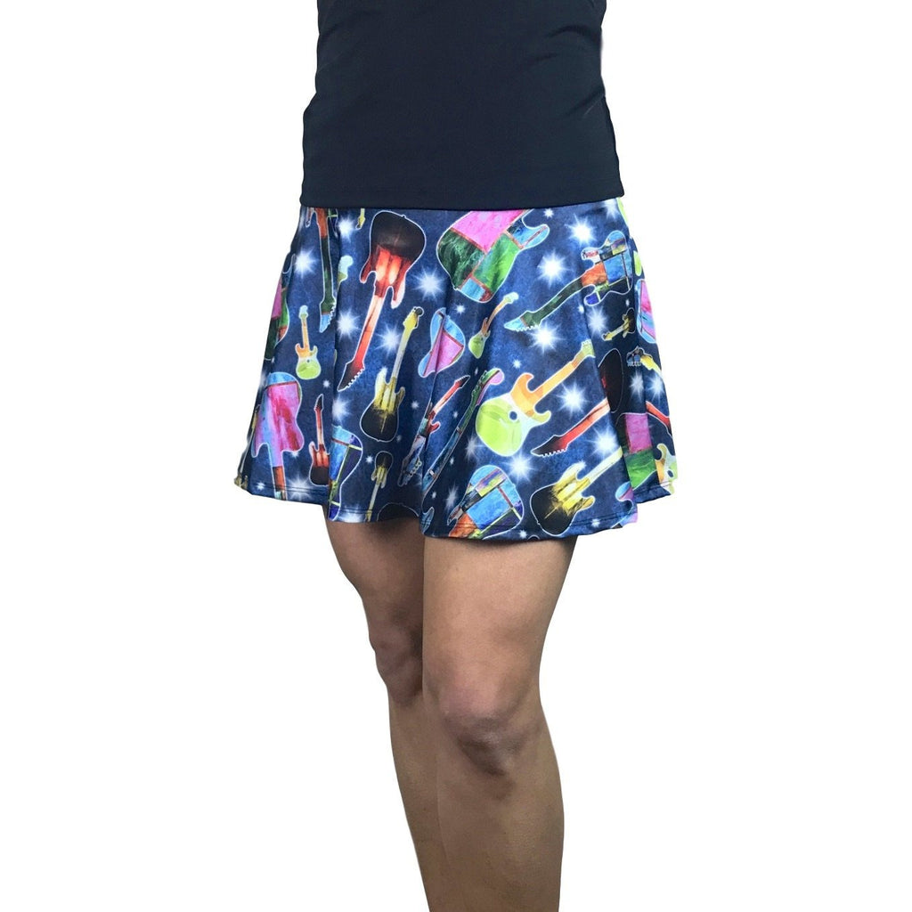 Guitar Rock 'n' Roll Print Athletic Flare Skirt w/ compression shorts and pocket- tennis skirt, golf skirt, running skirt