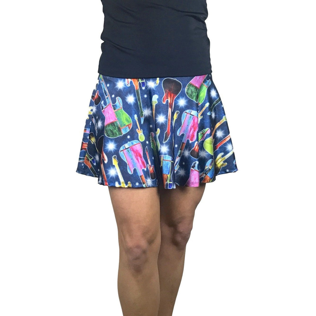 Guitar Rock 'n' Roll Print Athletic Flare Skort - Running Skirt - Smash Dandy