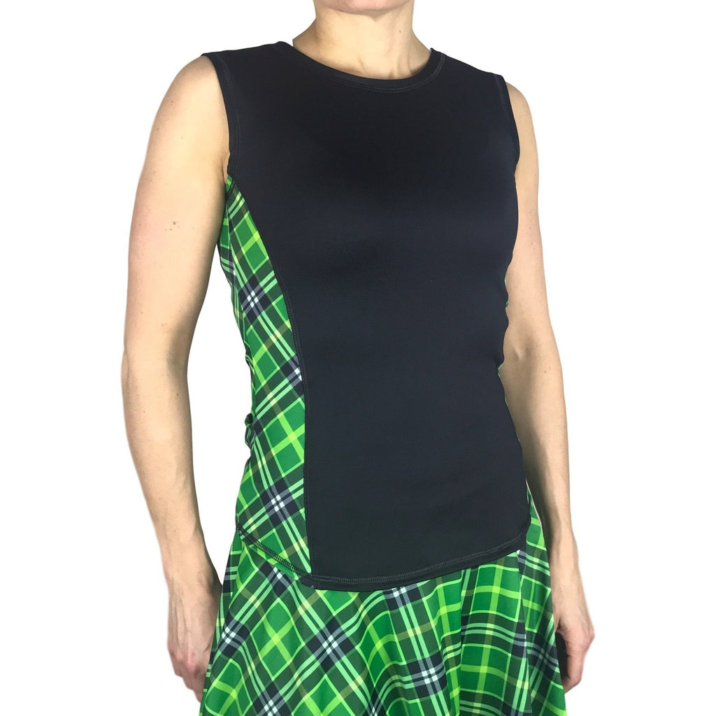Green Plaid Athletic Tank, Golf Shirt, Tennis Shirt, Running Shirt or Top, Yoga Top - Smash Dandy