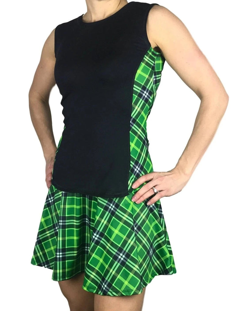 Green Plaid Women's Athletic Outfit - Running or Tennis Outfit - Smash Dandy