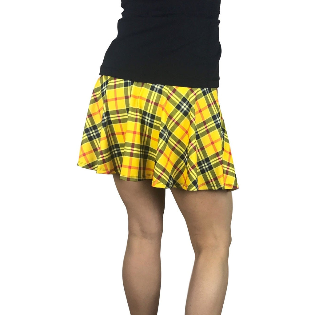 Yellow Plaid Athletic Flare Skort - Running Skirt - Smash Dandy