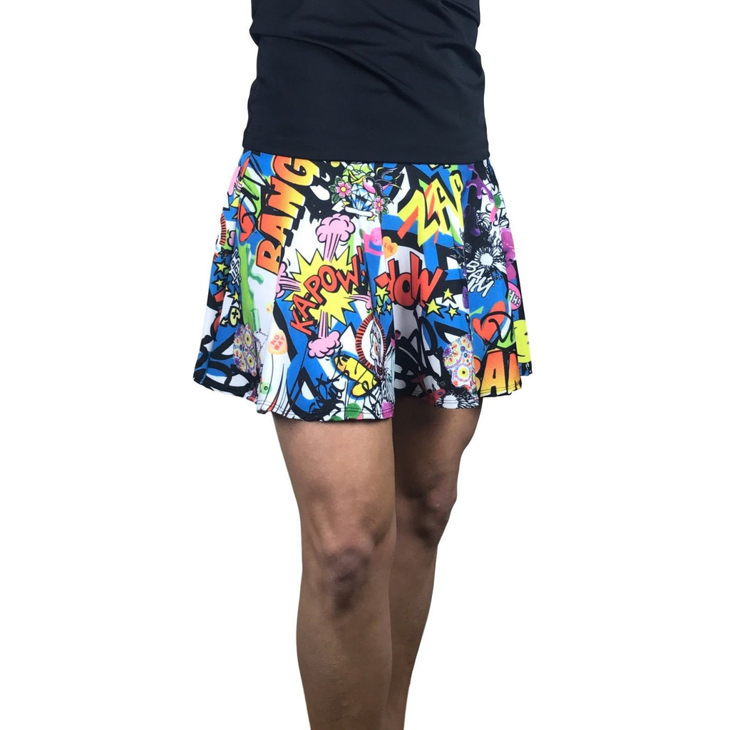 Graffiti Print Athletic Flare Skort - Smash Dandy