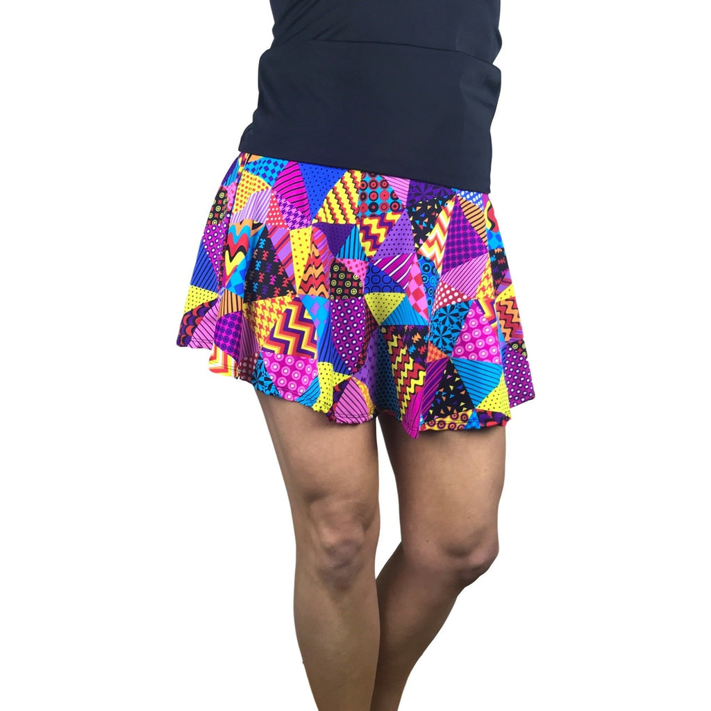 Patchwork Print Athletic Flare Skirt w/Shorts - Smash Dandy