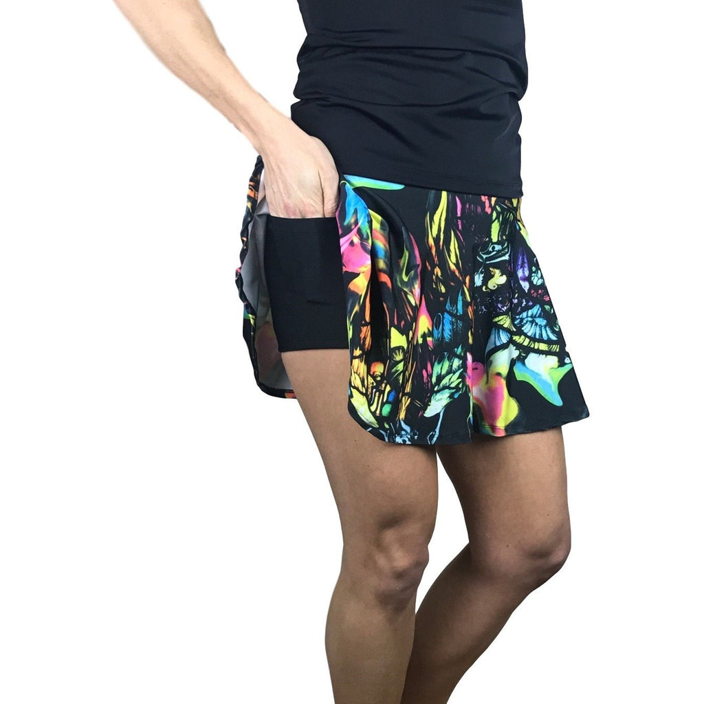 Watercolor Print Athletic Flare Skort - Smash Dandy