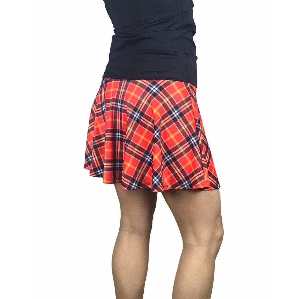 Red Plaid Athletic Skirt w/ built in compression shorts and pockets - Smash Dandy