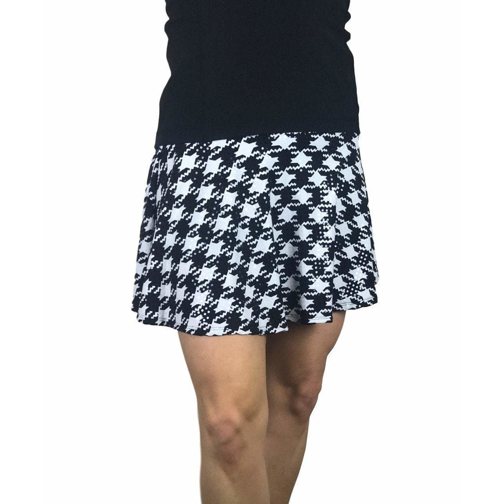 Houndstooth Sparkle Print Athletic Flare Skort - Running Skirt - Smash Dandy