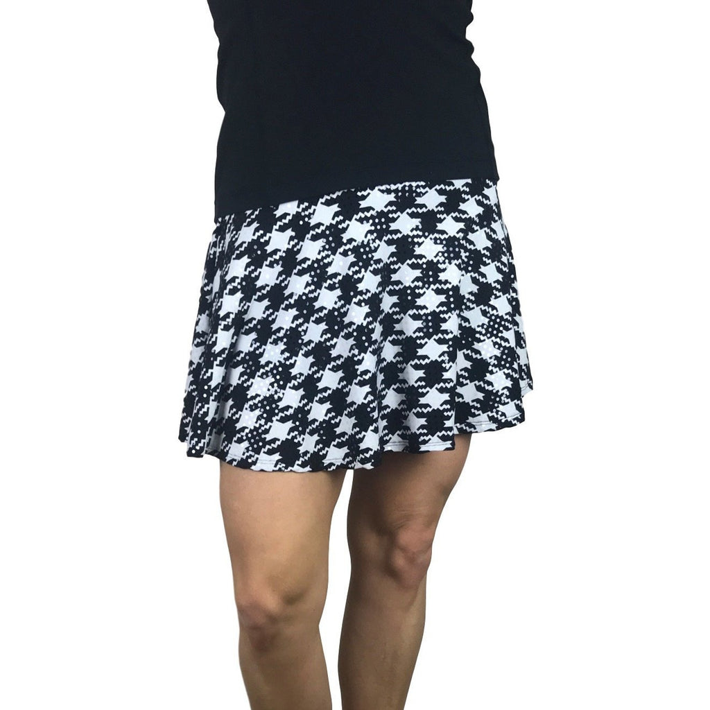 Houndstooth Sparkle Print Athletic Flare Skirt w/ compression shorts and pocket- tennis skirt, golf skirt, running skirt
