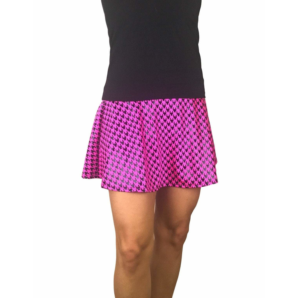 Pink Houndstooth Athletic Flare Skort w/ pocket- tennis skirt, golf skirt, running skirt - Smash Dandy