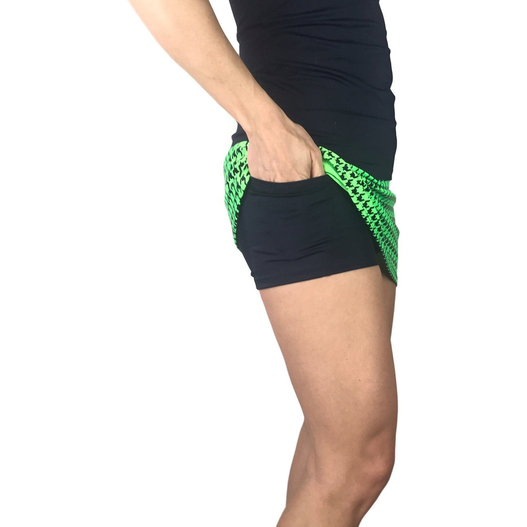 Green Houndstooth Print Athletic Slim Golf Skort w/ pocket- Golf Skirt