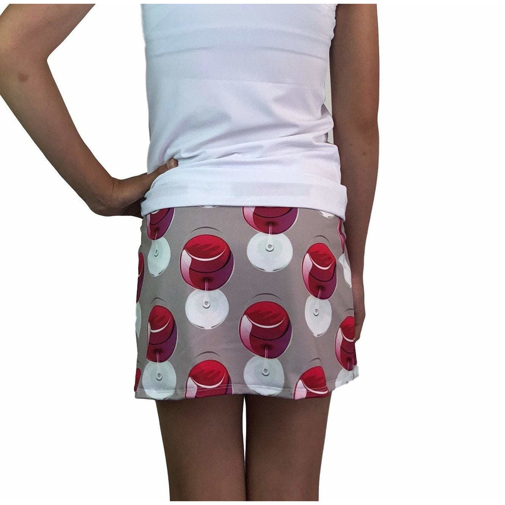Wine Glass Print Athletic Slim Golf Skort w/ pocket- Golf Skirt - Smash Dandy