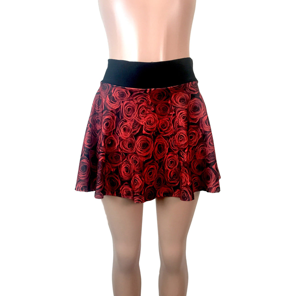 Roses Floral Athletic Flare Skirt w/ compression shorts and pocket- tennis skirt, golf skirt, running skirt