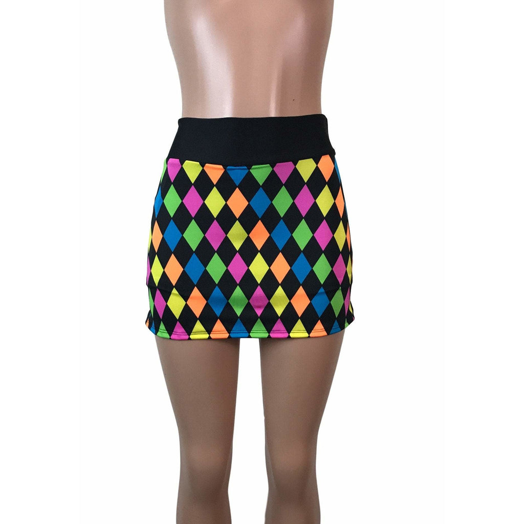 Neon Diamond Print Athletic Slim Skirt w/ built in compression shorts and pocket- tennis skirt, golf skirt, running skirt - Smash Dandy