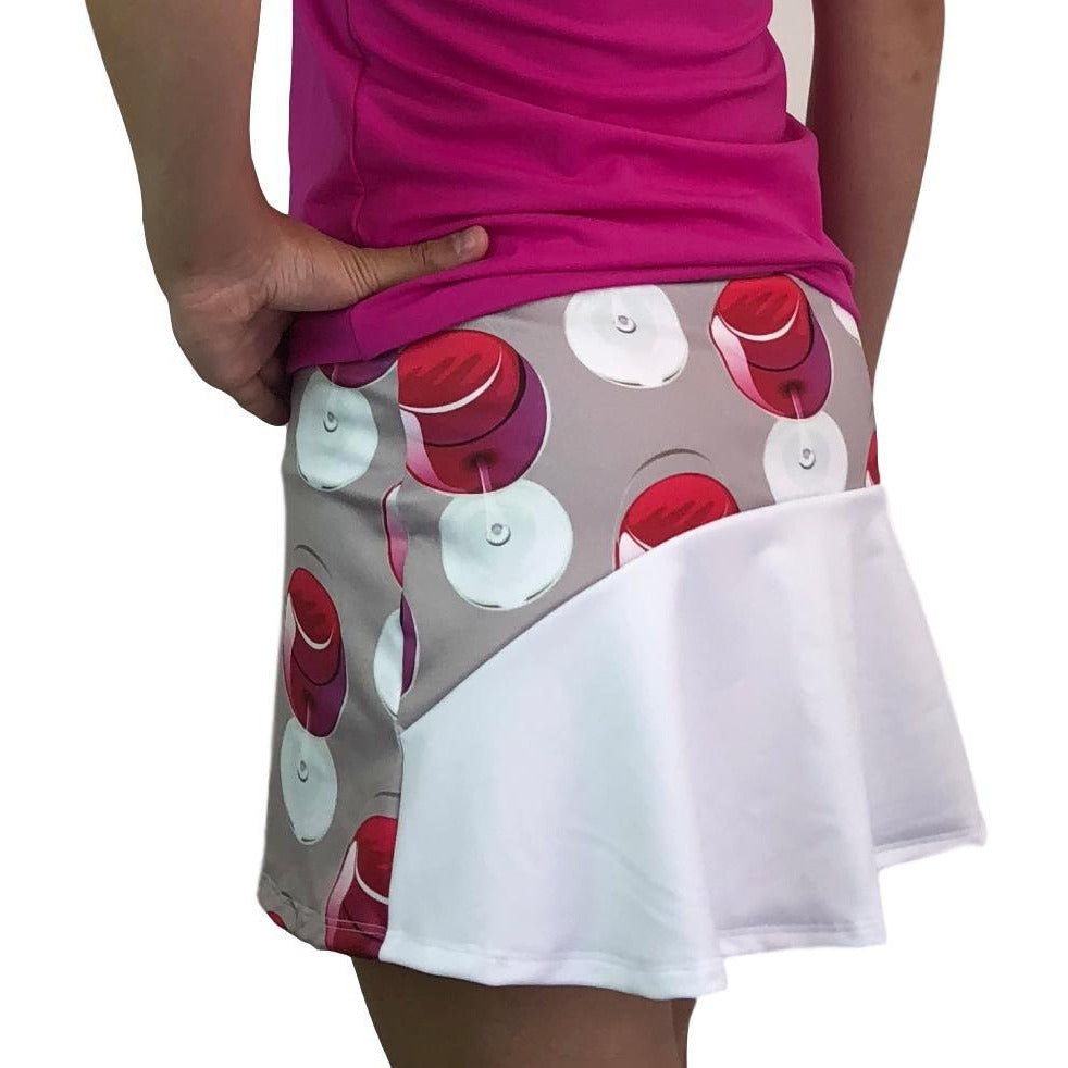 Wine Print Athletic Flutter Golf, Running, Tennis Skort w/ pockets- Golf Skirt - Smash Dandy