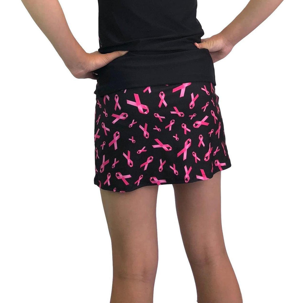Pink Ribbon Breast Cancer Awareness Athletic Slim Skirt w/ built in compression shorts and pocket- tennis skirt, golf skirt, running skirt