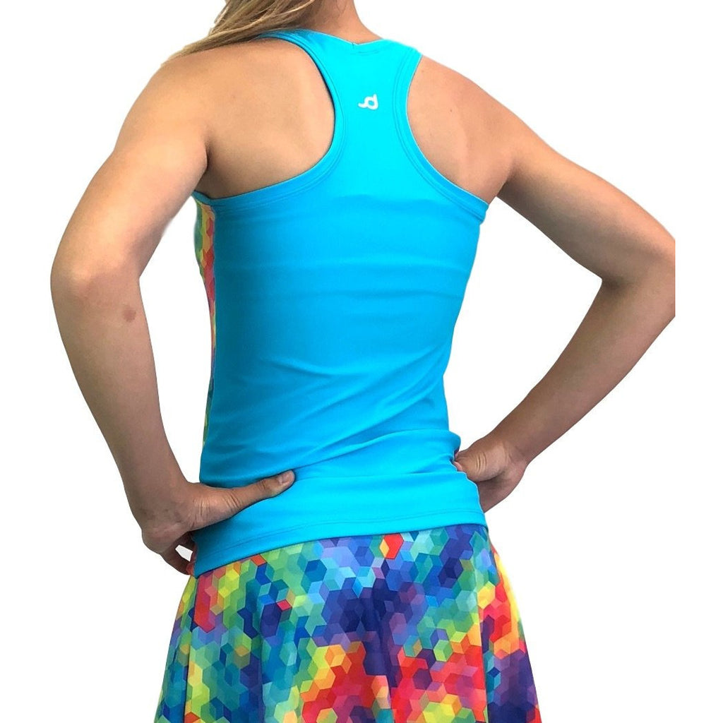 Rainbow Geo Athletic Tank, Golf Shirt, Tennis Shirt, Running Shirt or Top, Yoga Top - Smash Dandy