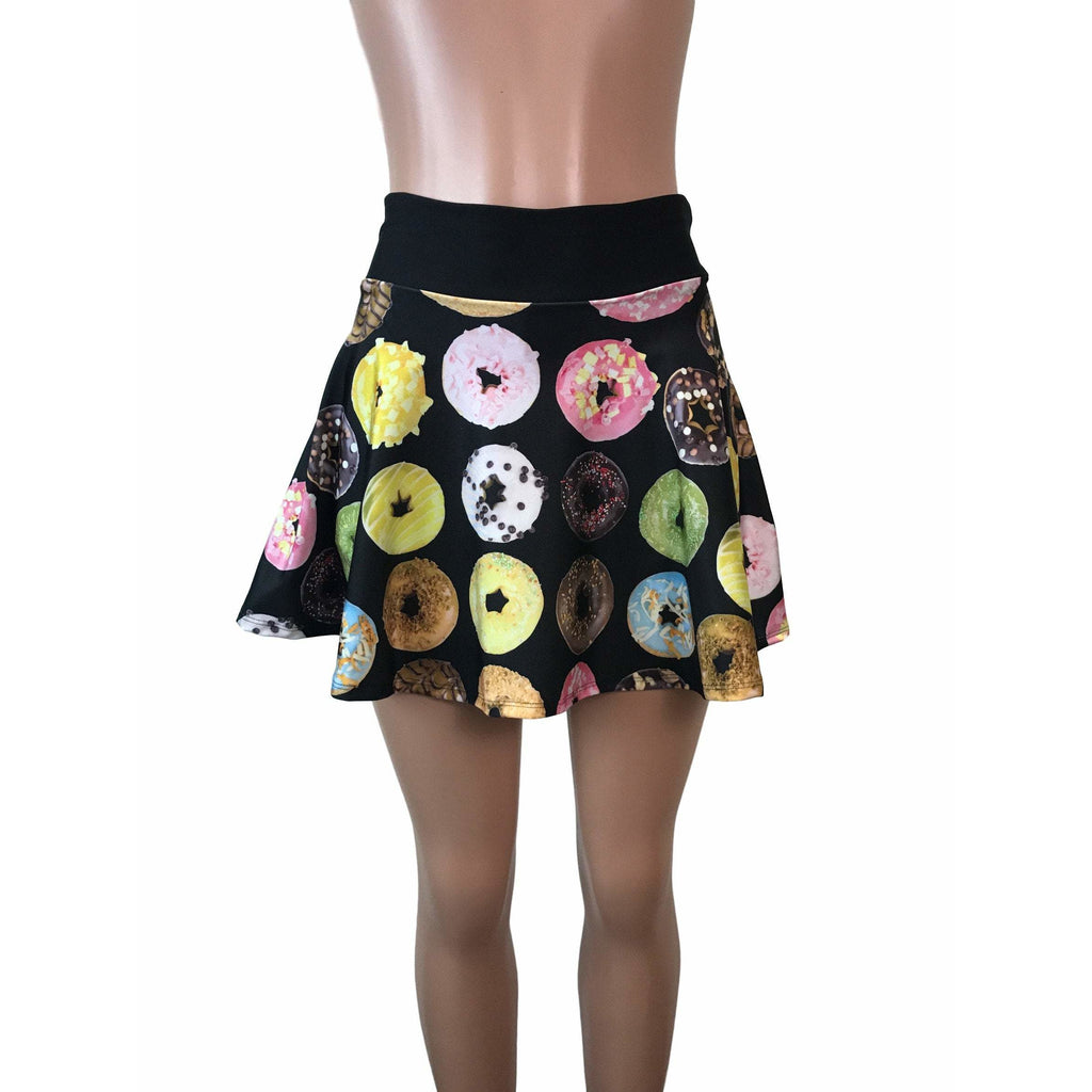 Donut Print Athletic Flare Skirt w/ compression shorts and pocket- tennis skirt, golf skirt, running skirt