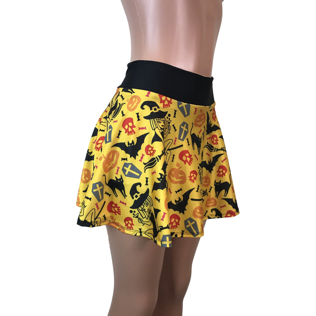 Halloween Bats & Cats Print Athletic Flare Skirt w/ compression shorts and pocket- tennis skirt, golf skirt, running skirt