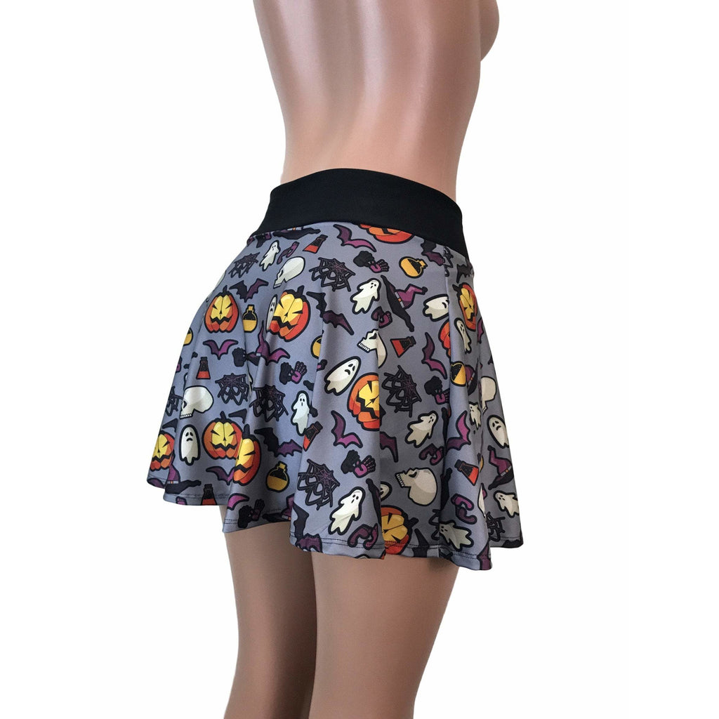 Halloween Ghosts & Witches Print Athletic Flare Skort - Running Skirt - Smash Dandy