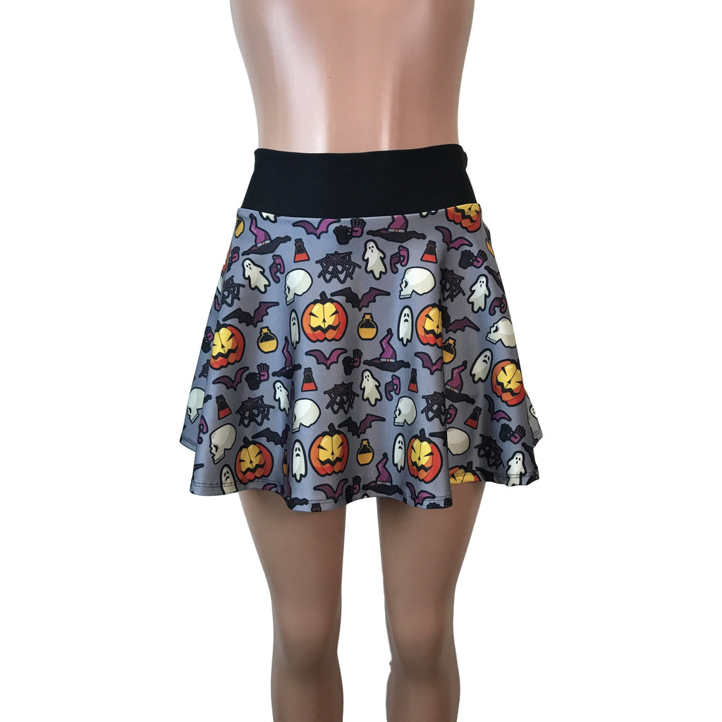 Halloween Ghosts & Witches Print Athletic Flare Skirt w/ compression shorts and pocket- tennis skirt, golf skirt, running skirt