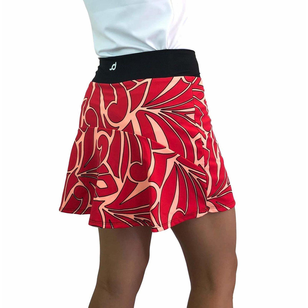Red & Peach Abstract Athletic Flutter Golf, Running, Tennis Skort w/ pockets- Golf Skirt - Smash Dandy