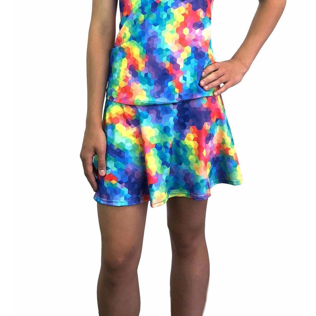Rainbow Geo Athletic Flare Skirt w/ compression shorts and pocket- tennis skirt, golf skirt, running skirt