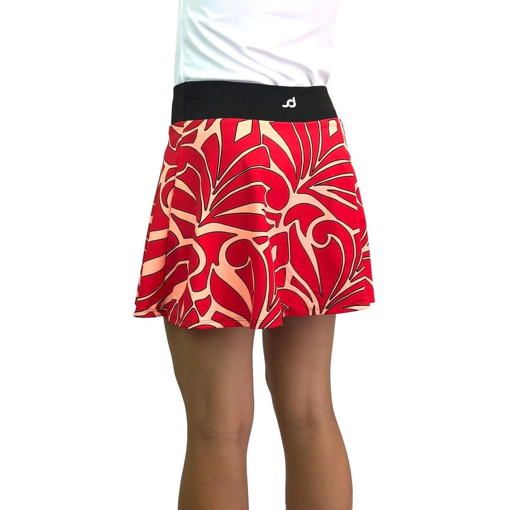 Red & Peach Abstract Athletic Flare Skirt w/ compression shorts and pocket- tennis skirt, golf skirt, running skirt