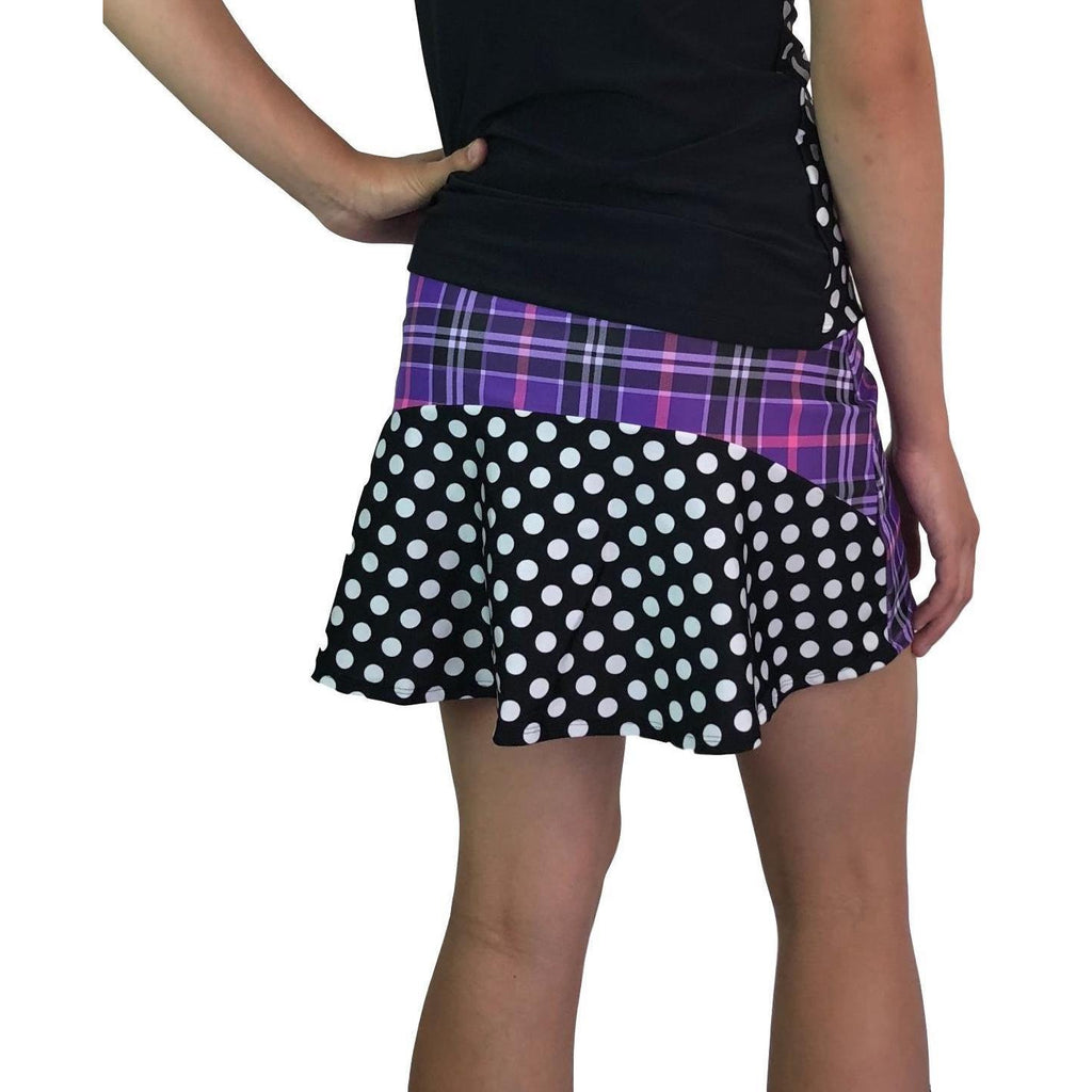 Purple Plaid w/ Polka Dots Athletic Flutter Golf, Running, Tennis Skort w/ pockets- Golf Skirt - Smash Dandy