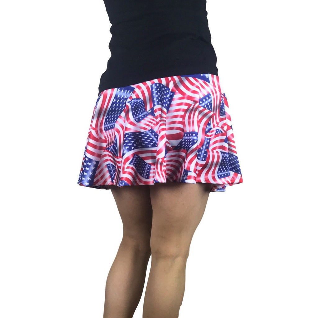 American Flag Athletic Flare Skirt w/ compression shorts and pocket- tennis skirt, golf skirt, running skirt