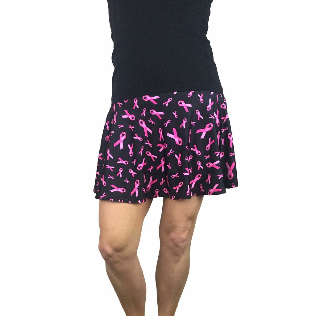 Pink Ribbon Breast Cancer Awareness Athletic Flare Skort - Running Skirt - Smash Dandy