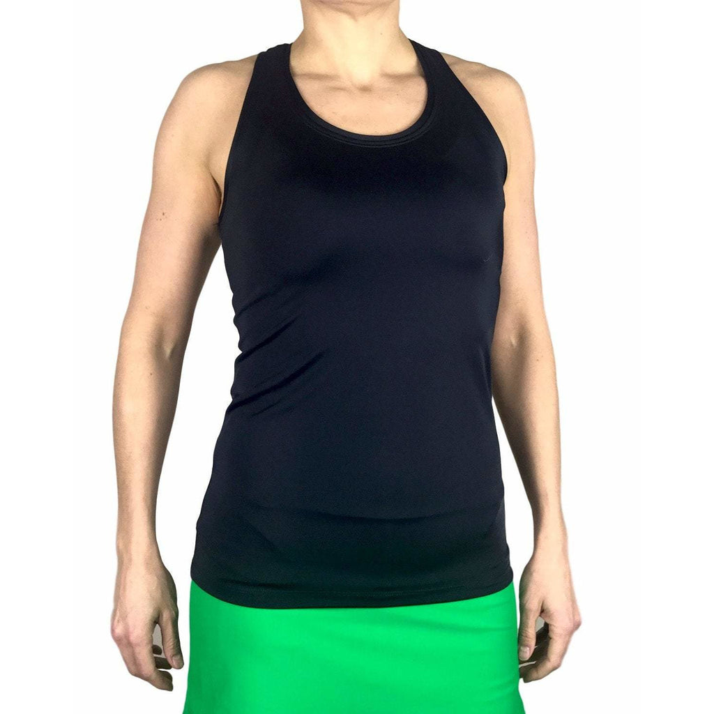 Black Racerback Athletic Tank, Golf Shirt, Tennis Shirt, Running Shirt or Top, Yoga Top