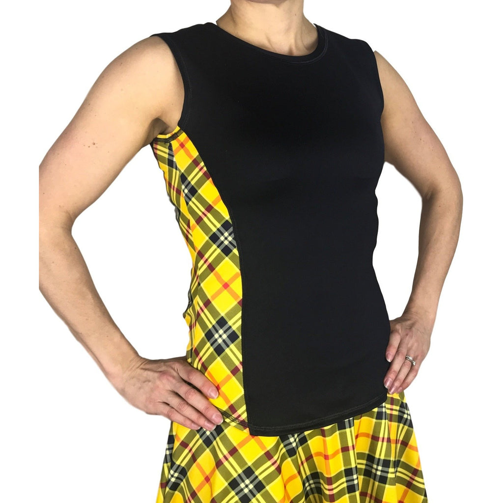 Yellow Plaid Women's Athletic Outfit- Athletic Oufit, Running Outfit, Golf Apparel, Tennis Outfit Skirt w/ built in compression shorts - Smash Dandy