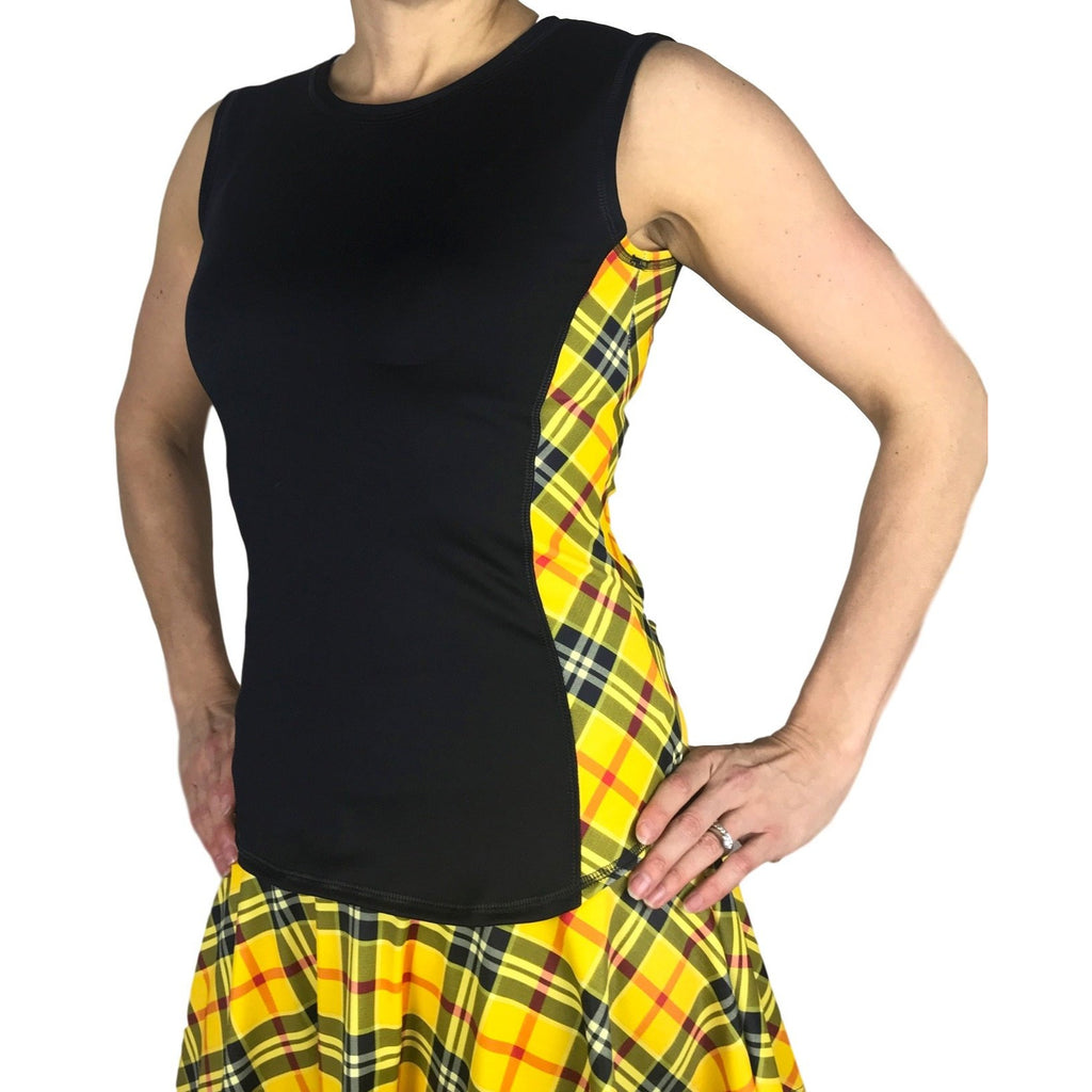 Yellow Plaid Athletic Tank, Golf Shirt, Tennis Shirt, Running Shirt or Top, Yoga Top