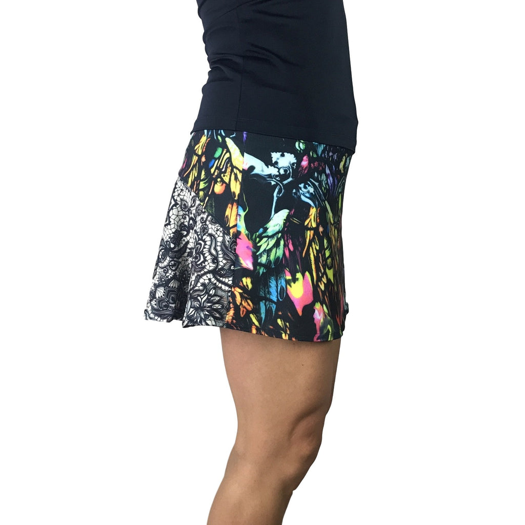 Watercolor w/ Lace Print Athletic Flutter Skort - Smash Dandy