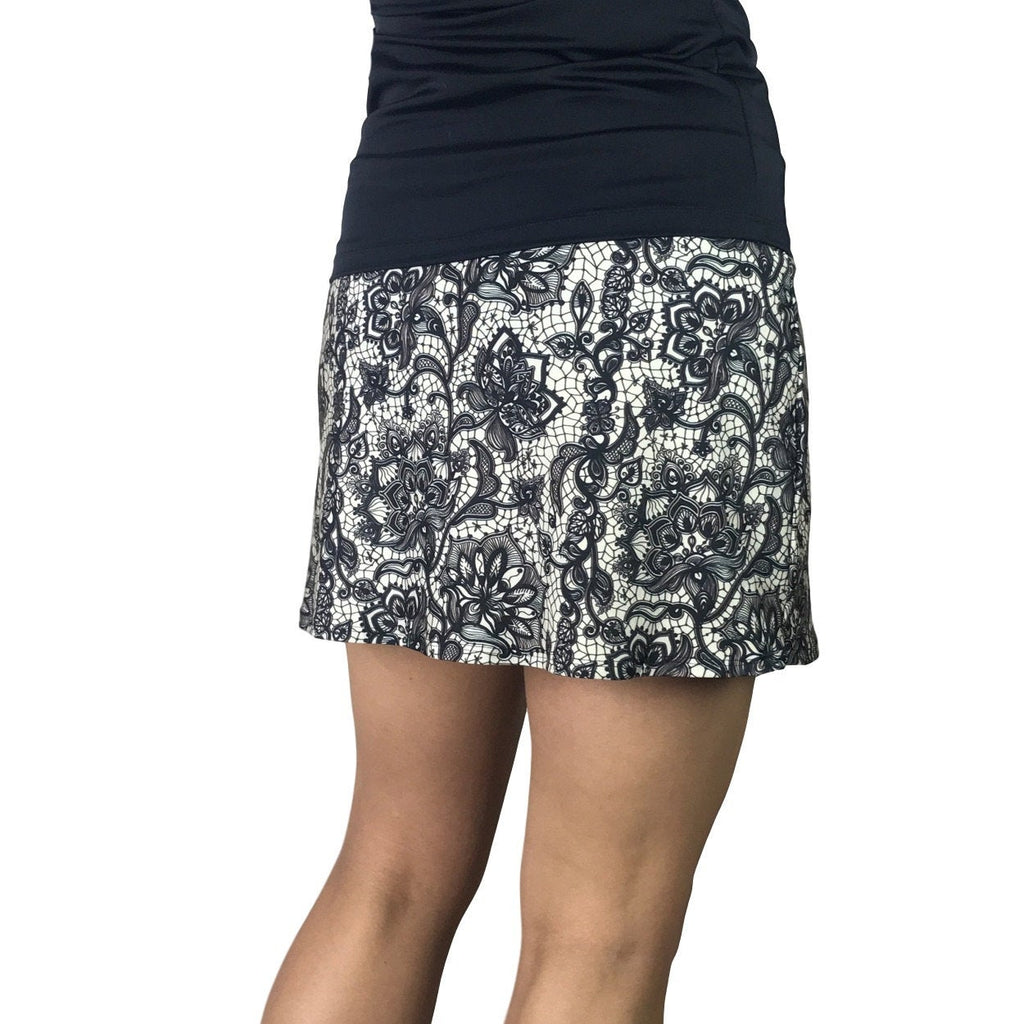 Black & White Lace Print Athletic Slim Golf Skort - Smash Dandy