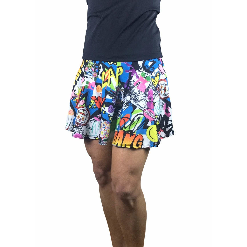 Graffiti Print Athletic Skirt w/ built in shorts and pockets- tennis skirt, skater skirt, golf skirt, running skirt