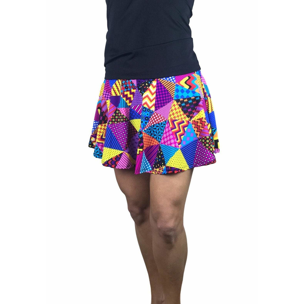 Patchwork Print Athletic Flare Skirt w/ compression shorts and pocket- tennis skirt, golf skirt, running skirt