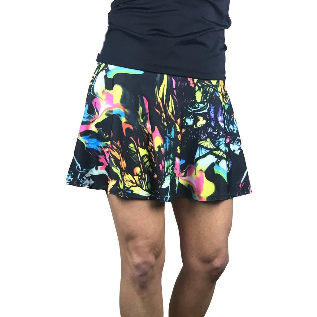 Watercolor Print Athletic Flare Skirt w/ compression shorts and pocket- tennis skirt, golf skirt, running skirt