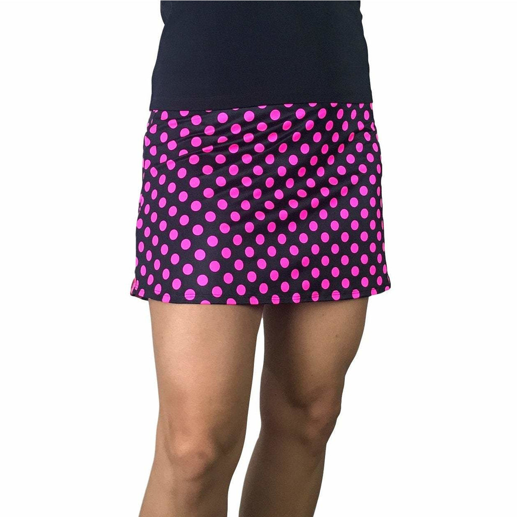 Pink Polka Dot w/ Zebra Print Athletic Flutter Golf, Running, Tennis Skort w/ pockets- Golf Skirt - Smash Dandy