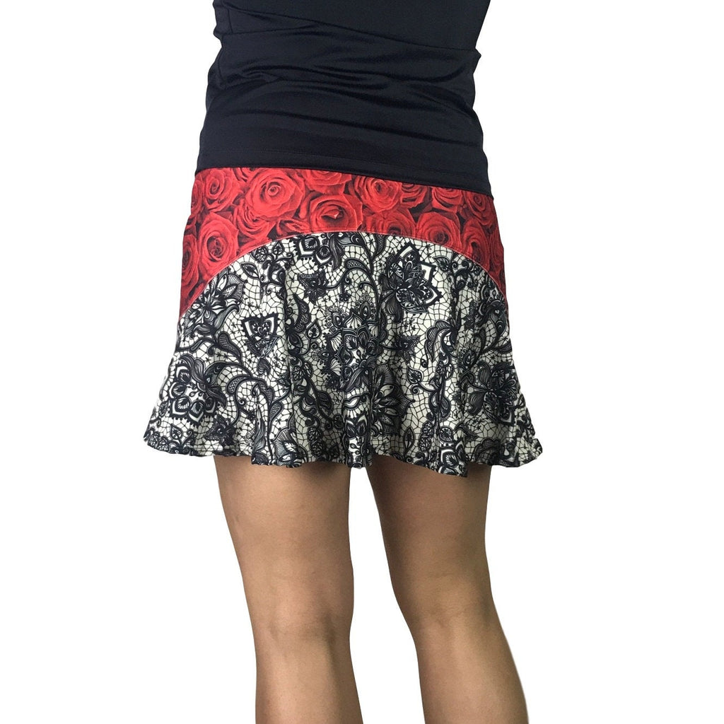 Roses w/ Lace Print Athletic Flutter Golf, Running, Tennis Skort w/ pockets- Golf Skirt