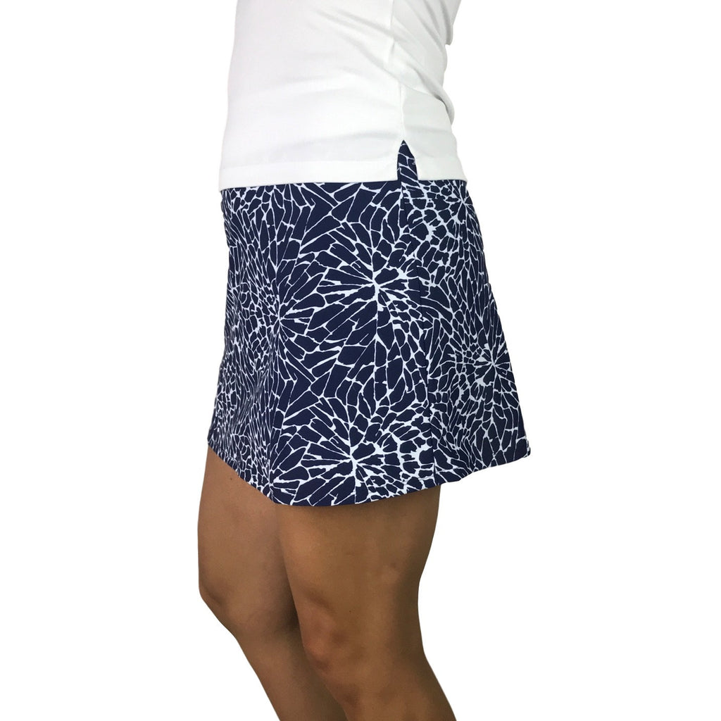 Navy Cracked Print Athletic Slim Golf Skirt w/ built in compression shorts and pockets - Smash Dandy