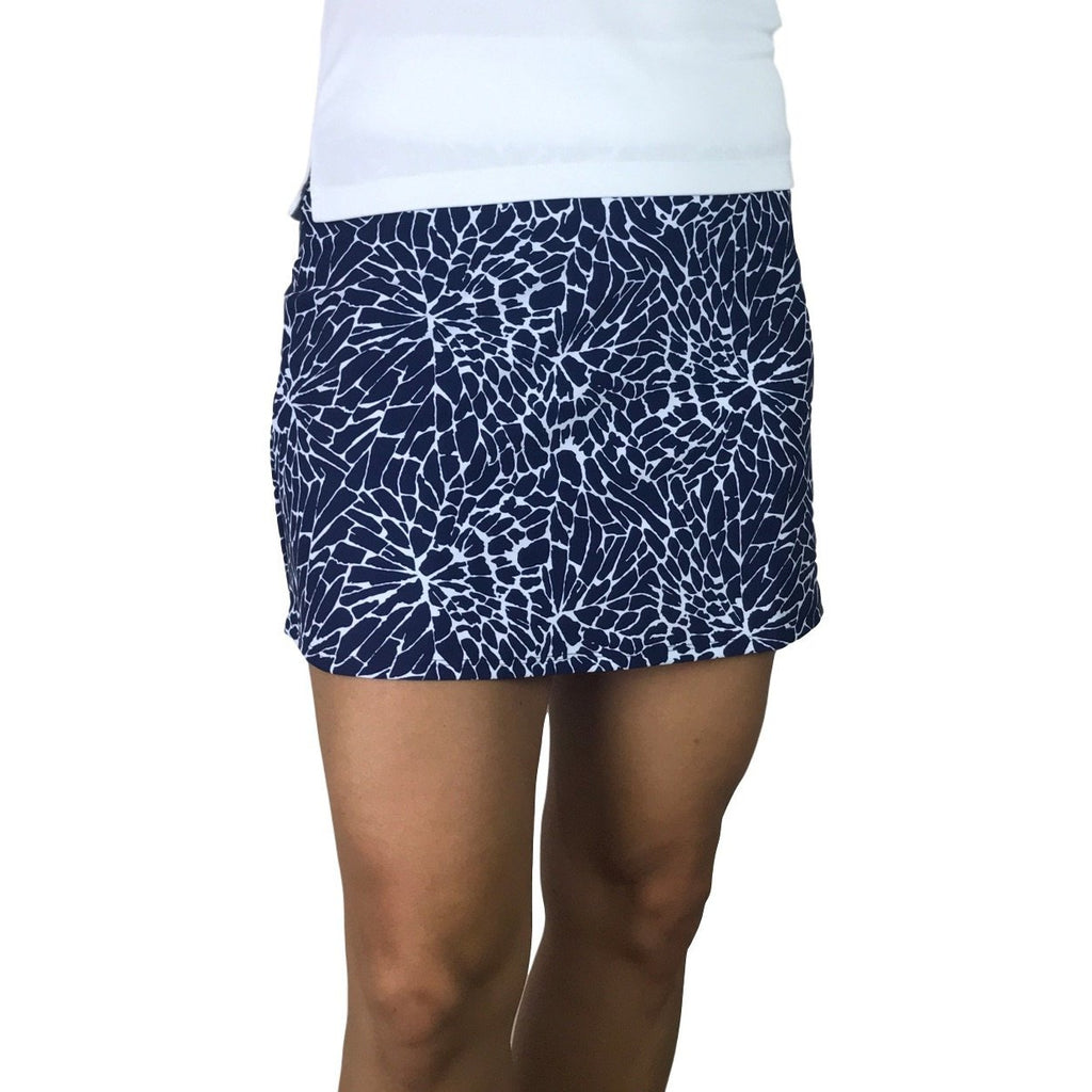 Navy Cracked Print Athletic Slim Golf Skirt w/ built in compression shorts and pockets