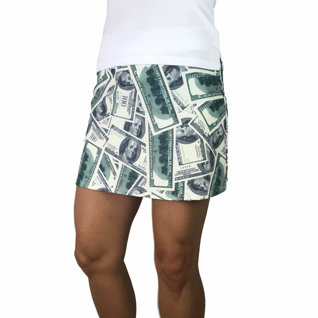Benjamins Money Print Athletic Slim Golf Skirt w/ built in compression shorts and pockets
