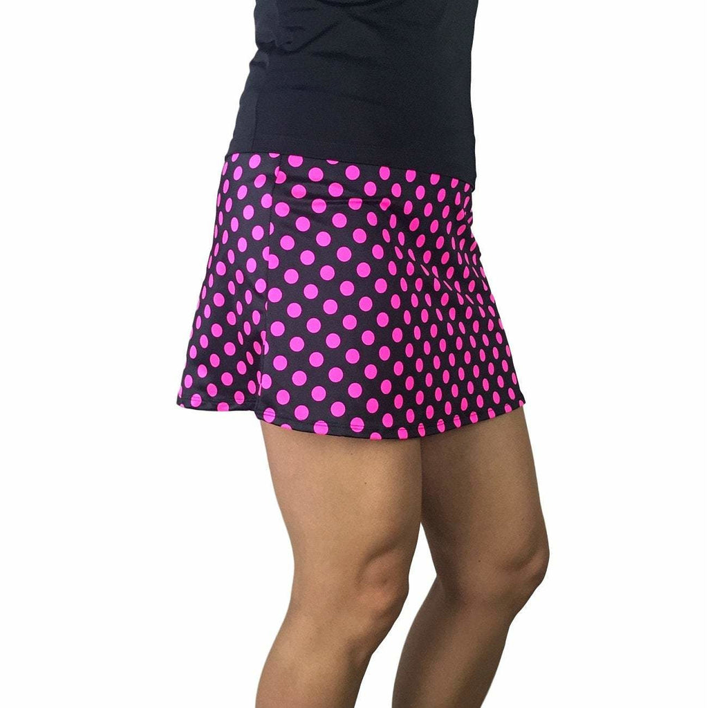 Pink Polka Dot Athletic Slim Golf Skirt w/ built in compression shorts and pockets - Smash Dandy