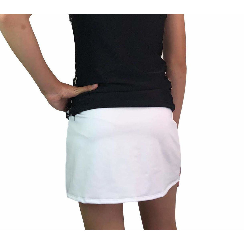 White Athletic Slim Golf Skirt w/ built in compression shorts and pockets