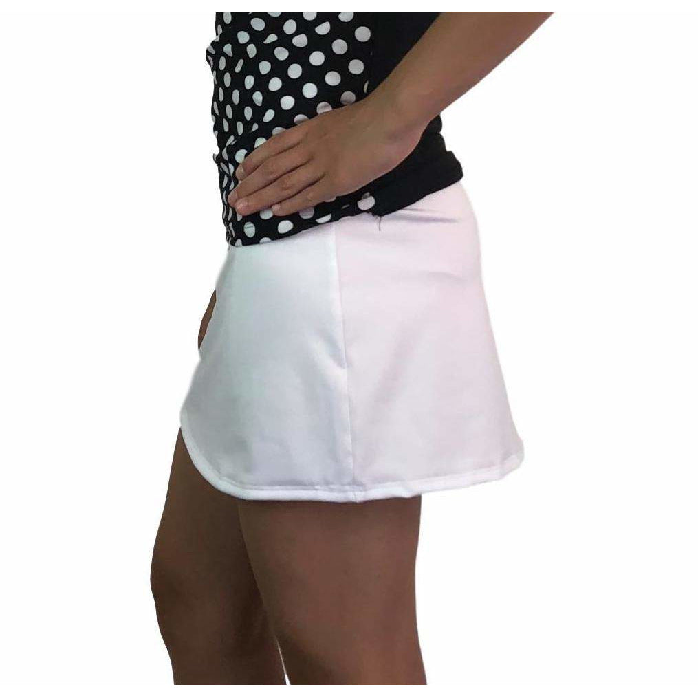 White Athletic Slim Golf Skirt w/ built in compression shorts and pockets - Smash Dandy