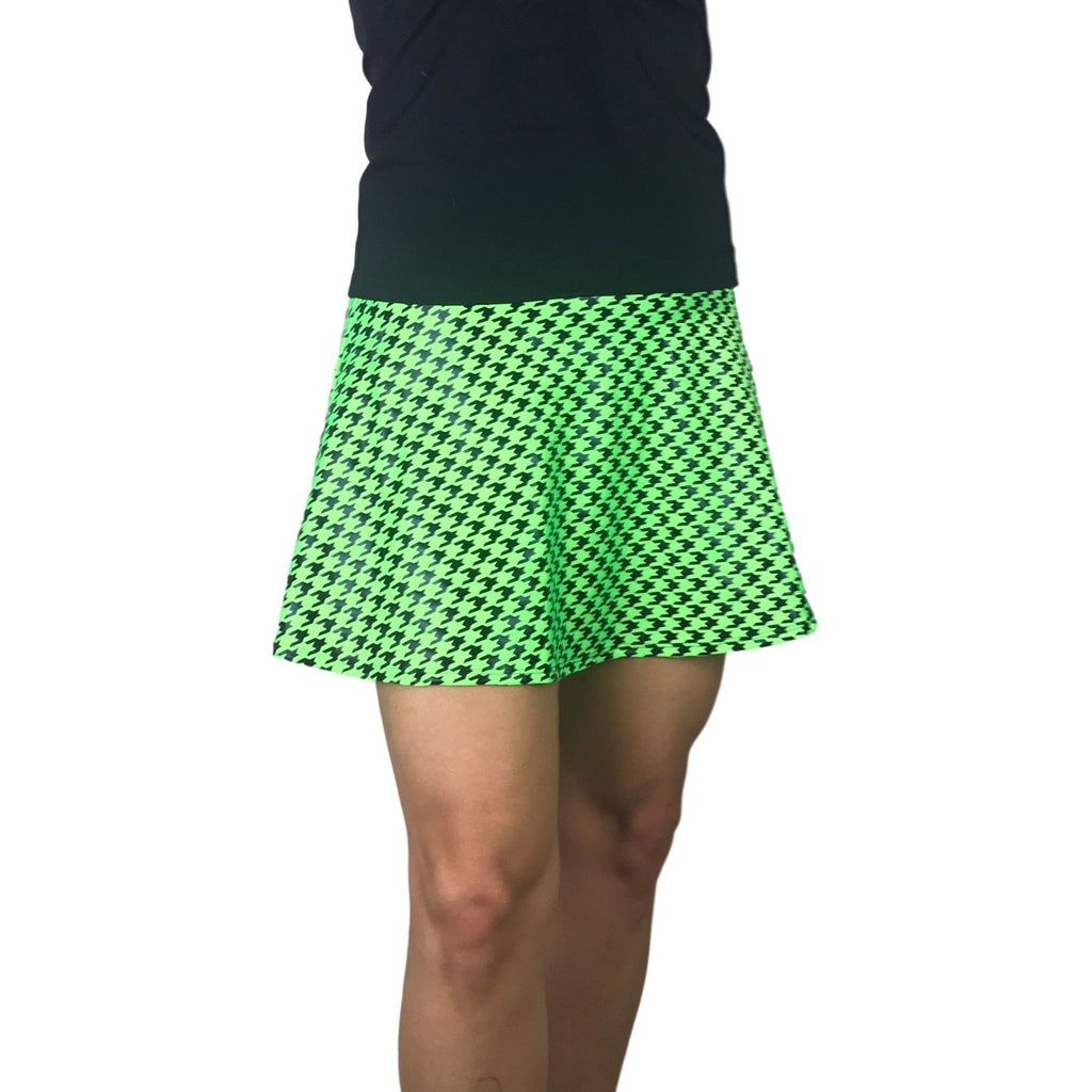 Green Houndstooth Athletic Flare Skort w/ pockets - Smash Dandy